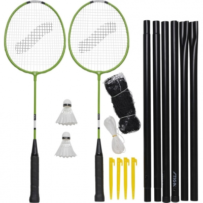 Set for Badminton Stiga Garden GS Set 2 rackets 2 ailerons net with posts