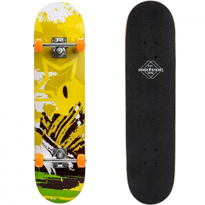 Skateboard Wooden Meteor Yellow and Black 22622