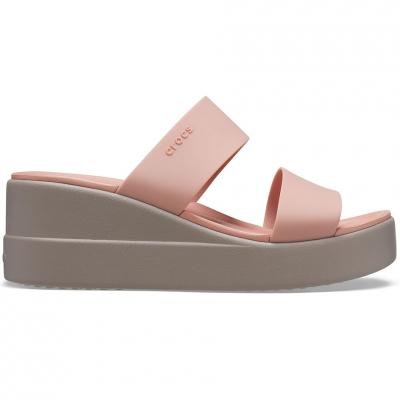 Papuc Casa Crocs 's Brooklyn Mid Wedge pink- beige 206219 6RL dama