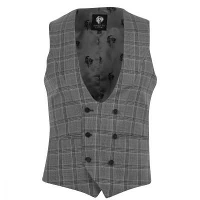 Twisted Tailor Salute Check Waistcoat