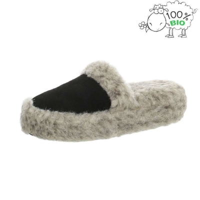 Papuci de casa blana oaie naturala