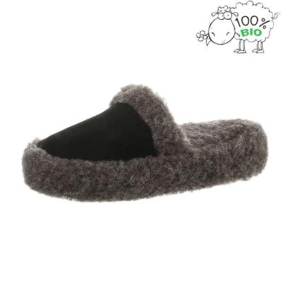 Pantofi de casa imblaniti blana naturala oaie - negru dama