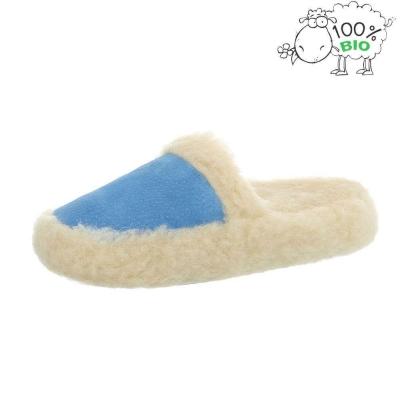 Pantofi de casa imblaniti blana naturala oaie - L.albastru dama
