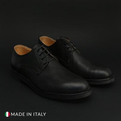 Pantofi siret Duca Di Morrone 601_PELLE Negru